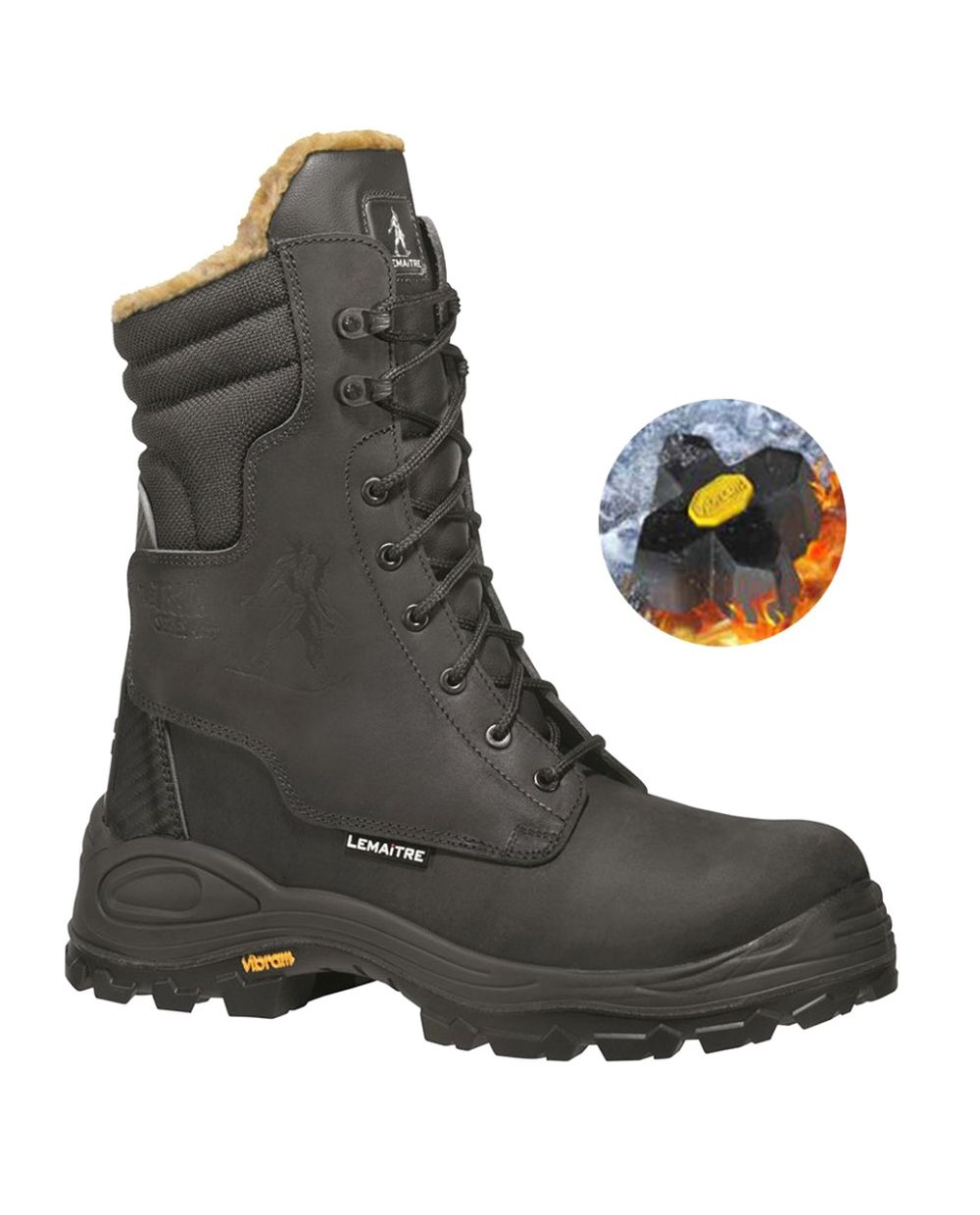 Tundra Vibram Thinsulate Fur Lined High Combat Boot - Black
